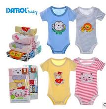 2016 5pcs/lot 100%cotton Baby RompersClothing Set Summer Cotton Baby Girl Boy Short Sleeve Printed Jumpsuit Newborn Baby Clothes