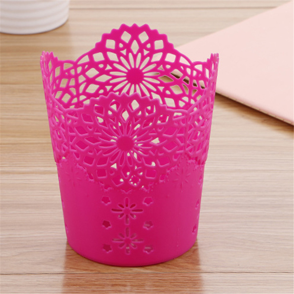 Image 3 - Openwork Pattern Pen Holder Creative Storage Bucket Small  Can Storage Basket-in Storage Baskets from Home & Garden