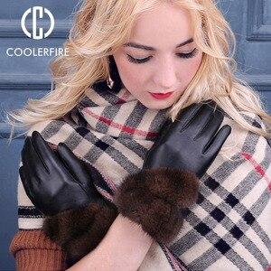 Image 2 - Coolerfirnew Designer Wome Handschoenen Hoge Kwaliteit Echt Leer Schapenvacht Wanten Warme Winter Handschoenen Voor Mode Vrouwelijke ST013