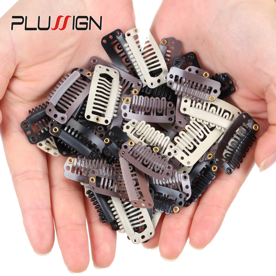 10Pcs Clips 9-Teeth Snap-Comb Wig Clips With Rubber For Hair Extension Wigs Weft Hairpiece Diy Clips Black Brown Begie