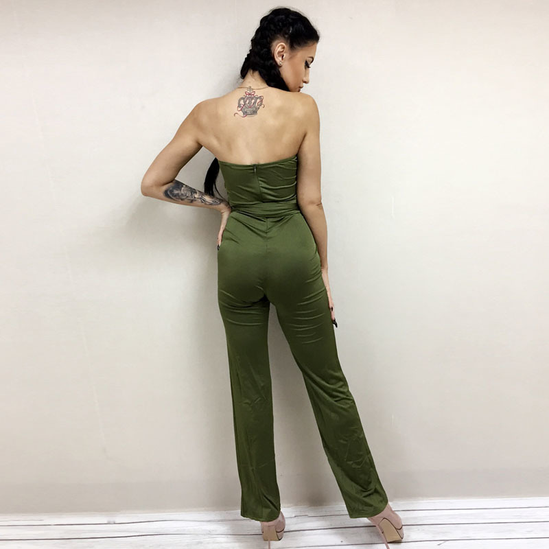NATTEMAID Autumn rompers womens jumpsuit women Bandage strapless slash neck Bodycon overalls Solid club sexy Rompers for women 10
