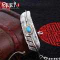 Beier new store 925 Sterling Silver Bracelet classic leather bracelet with Turquoise Fashion Jewelry B925R028