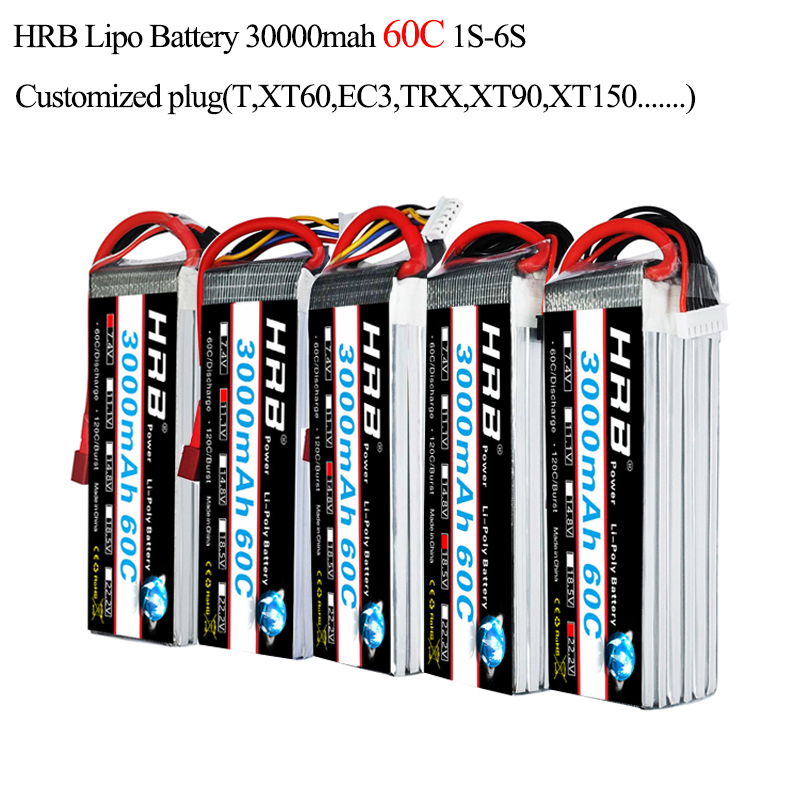 HRB Lipo 1S 2S 3S 4S 5S 6S Battery 3000mah 3.7V 7.4v 11.1v 14.8v 18.5v 22.2v 60C MAX 120C Strap For RC Airplane Car Boat Toys