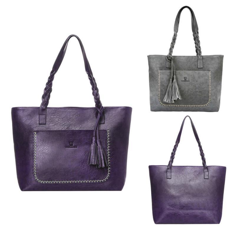 2018 новейшие модные женские Искусственная кожа кисточкой сумка дамы сплошной цвет молнии большая емкость мешка # F