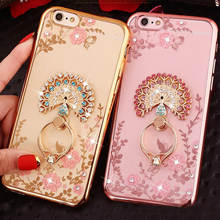 New Luxury Secret Garden Flowers Rhinestone Cell Phone Cases For iphone 7 Plus 6 6S 5 Huawei Honor Plating Rose Gold Ring Case