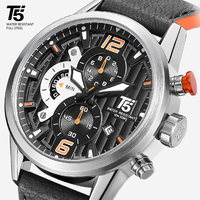 Кожаный ремешок мужские черные T5 кварцевый хронограф мужские спортивные Водонепроницаемый Топ Роскошные Брендовые Часы Для мужчин s часы н