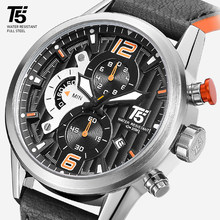 Leather Band Men Black T5 Quartz Chronograph Man Sport Waterproof Top Brand Luxury Watch Mens Watches Wristwatch(China)