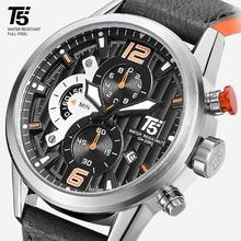 Leather Band Men Black T5 Quartz Chronograph Man Sport Water
