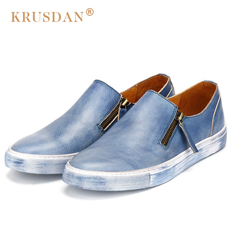KRUSDAN 2017 Vintage Flat Platform Man Casual Shoes Genuine Leather Handmade Loafers Round Toe Zipper Men's Boat Footwear NK29