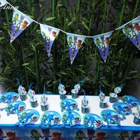 62pcs PJ Masks Birthday Party Supplies Plate Cup Flag Tablecloth Knives Forks Spoons Straws Christmas Decorations
