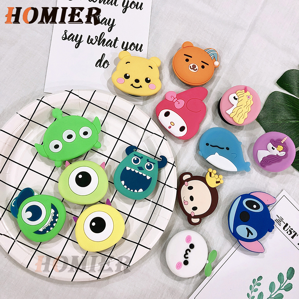 Universal Socket Phone Stand Bracket Expanding Stand Stretch Grip Phone Holder Finger Cute Cartoon Stand For Iphone 6S 7 8 X XS