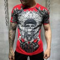 PP Bag Packaging!Brand Men Summer Warrior Rhinestone Print T Shirt 100% Pure Cotton Fashion Tops Tees Male Casual T shirt