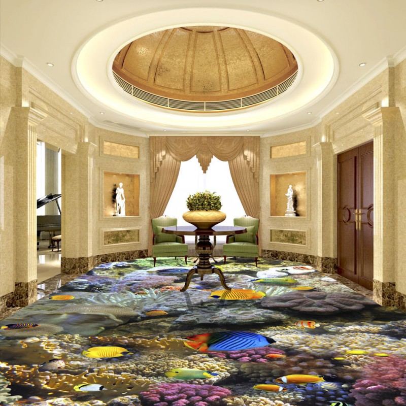 ФОТО Free Shipping Sea Life Underwater World flooring painting bathroom street self-adhesive floor wallpaper mural