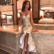 2018 Luxury Gold Lace Long Dress Women Mermaid Vestidos Sexy Strapless  Bodycon Bandage Evening Party Dresses New Runway Dress a523ab456a56