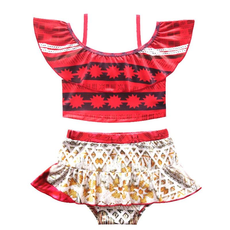 Sunny eva Moana swimwear print Two Piece Bikini Girls kids Beach wear princess 2019 separate children 39 s swimwear Maillot De Bain in Children 39 s Two Piece Suits from Sports amp Entertainment