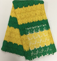 5yards Pcs Windmaill Pattern Yellow Green Mix Striped Lace Guipure Fabric For Sewing African Long
