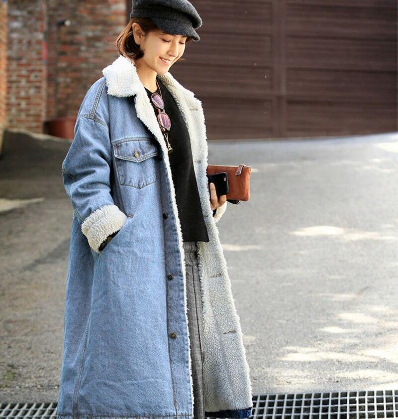 ddb71b32aa6f Зимние толстые длинные Джинсы с флисом oversize пальто Новинки для ...