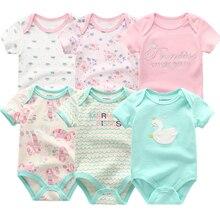 Kiddiezoom/брендовый Комбинезон для маленьких мальчиков; коллекция года; Модная хлопковая одежда с короткими рукавами для мальчиков и девочек; 6 шт.; Одежда для новорожденных; Roupas de bebe