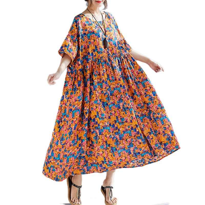 DIMANAF Plus Size Women Print Dresses Summer Sundress Cotton Linen Female  Lady Vestidos Loose Long Beach 43cac66c43e1