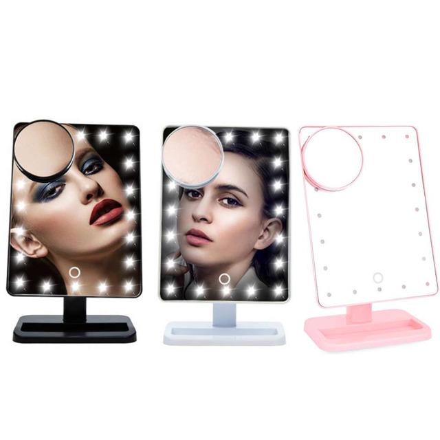 10X Lupa LEVOU Tela de Toque Espelho de Maquiagem Portátil 20 LEDs Iluminado Cosméticos Vaidade Bancada de Mesa Ajustável