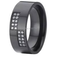 2015 Black Titanium Cz Diamonds Big Womens Wedding Band Promise Engagement Ring Designs Anel