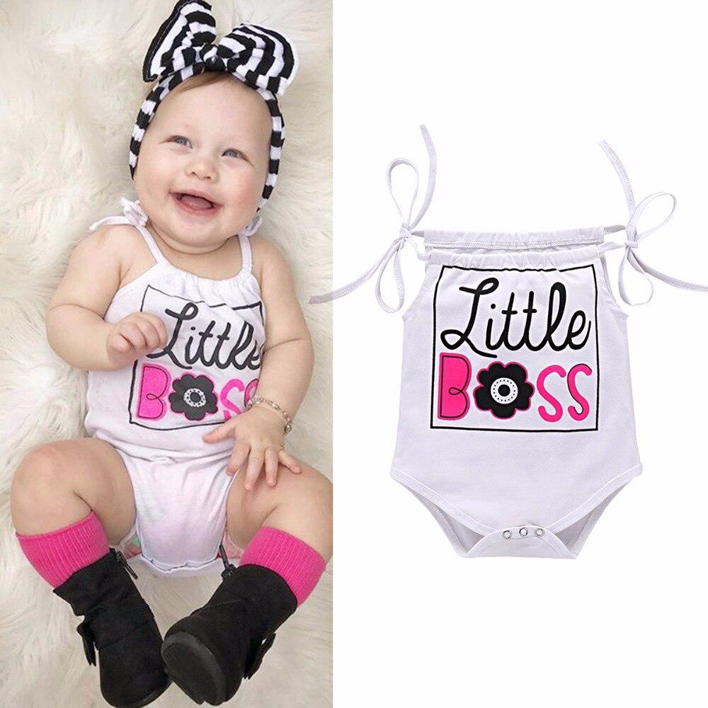Puseky 0-24 м для маленьких с надписью Boss Цветочный принт Регулируемая повязки комбинезон без рукавов для новорожденных летняя одежда