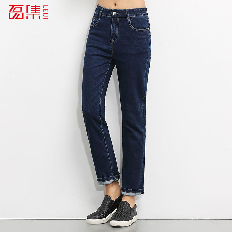 New arrival S- 6XL High Waist jeans for women High Elastic plus size denim washed casual loose Straight jeans pants 2017 new jeans women spring pants high waist thin slim elastic waist pencil pants fashion denim trousers 3 color plus size