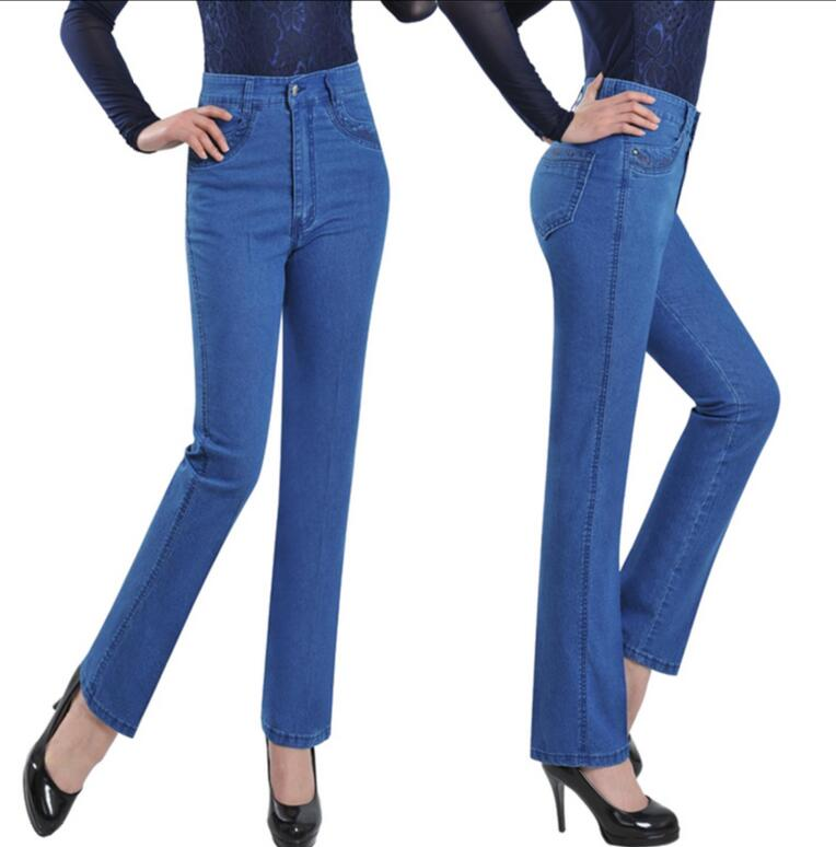 2017 Spring Summer Middle-aged Lady High Waist Jeans Elderly Mother thin straight denim Pants Big Yards a382