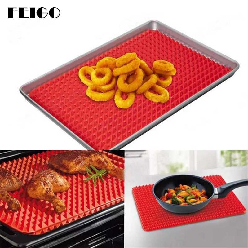 FEIGO Rectangle Heat Resistant Mat Silicone Non-slip Mats Red Bakeware Pan Nonstick Silicone Baking Mats Pad Kitchen Tool F437