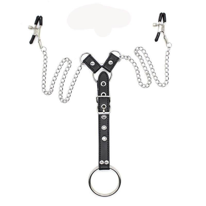 PU Leather Nipple Clamps Bondage Harness BDSM Metal Chain With Cockring Sex Toys For Men Adult Erotic Accessories For Couples