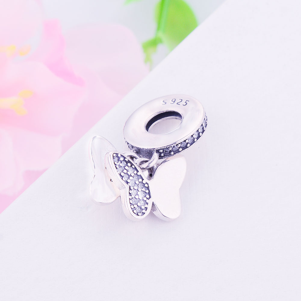 100% 925 Sterling Silver Pärlor Fladdrande Fjärilar Hängsmycke - Märkessmycken - Foto 3