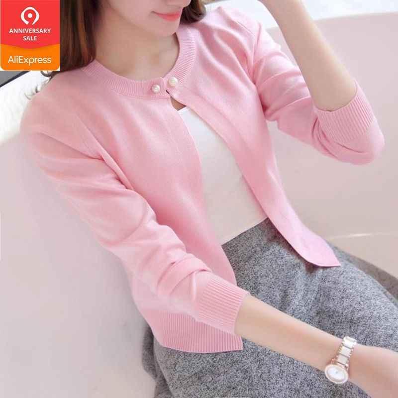 Новый вязаный кардиган Для женщин 2019 Демисезонный с длинным рукавом Для женщин свитер кардиган женский одной кнопки тянуть роковой черный/розовый