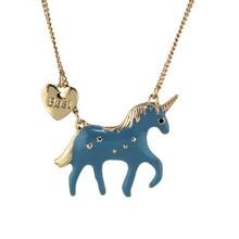 Necklace with Love Heart Unicorn Pendants