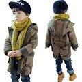 DFXD Мальчики Пальто Шерсти С Капюшоном Мода Осень Зима Долго Камуфляж Молния Толстые Дети Верхняя Одежда Детские Куртки Пальто Для 2-8Y