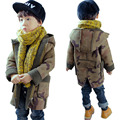 DFXD Boys Wool Coats With Hood Fashion Autumn Winter Long Camouflage Zipper Children Thick Outwear Baby Jackets Coats For 2-8Y