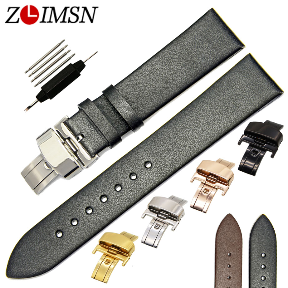 ZLIMSN Black Genuine Leather Watchbands Deployment Clasp 18 20 22mm Watch Women Bands Replacement Watches Parts Relojes Hombre цена