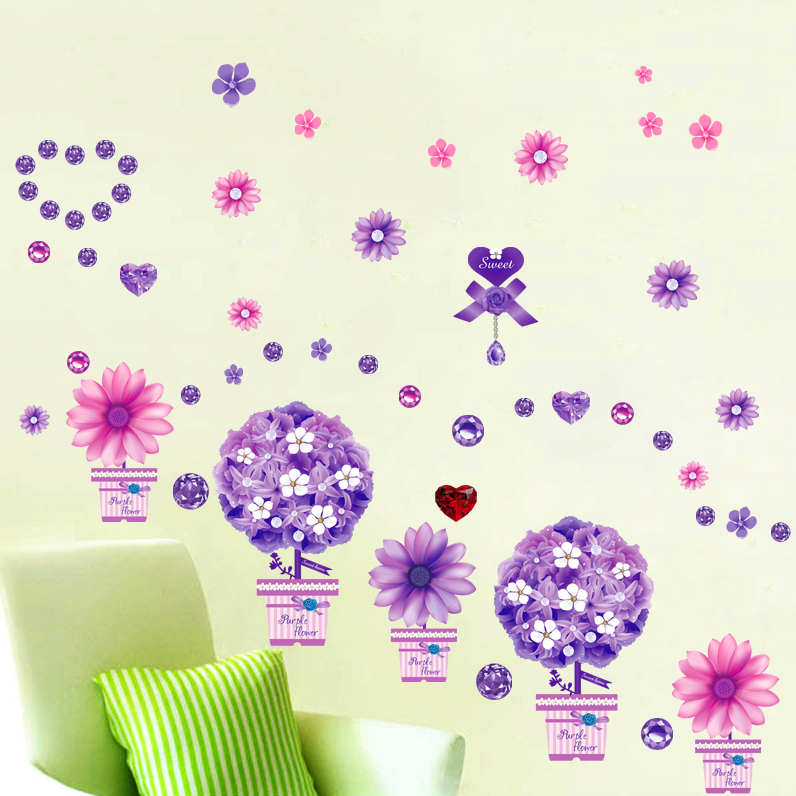 Purple Romantic Big Flower Wall Stickers Home Decor: Warm Romantic Purple Diamond Flower Wall Stickers DIY