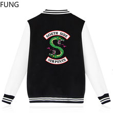 FUNG Riverdale Baseball Suit South Side Serpents Streetwear Casual Fashion Jacket Men and Women Sweatshirts(China)