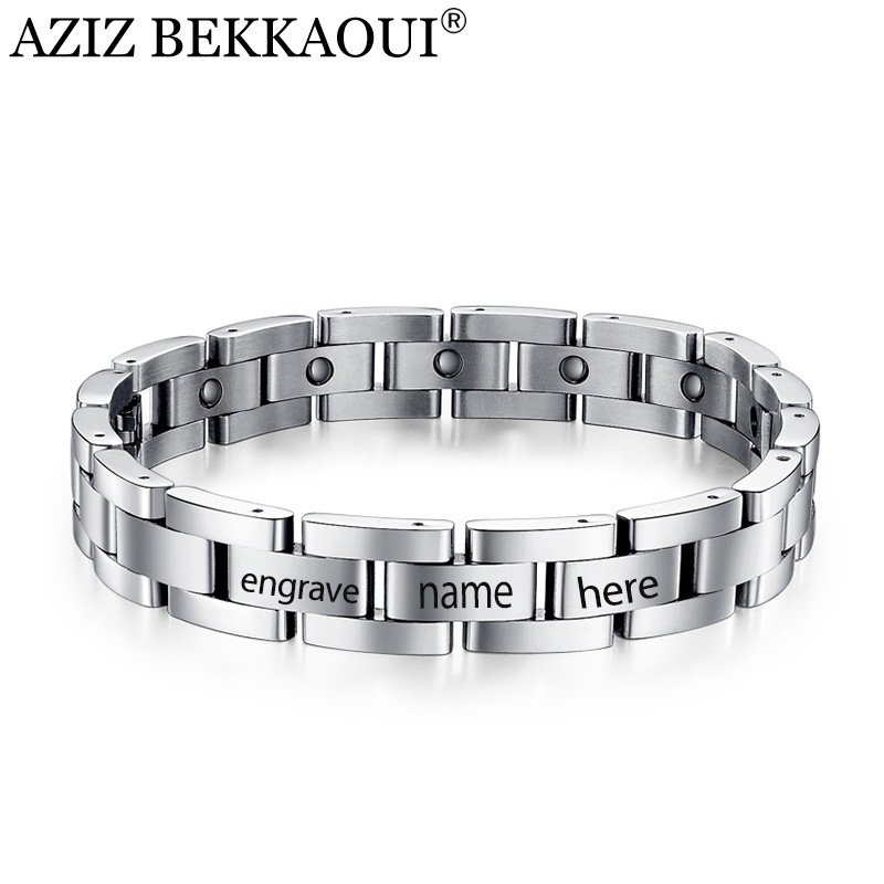 AZIZ BEKKAOUI Magnetic Bracelet Men Titanium Steel Bangle 21-23CM Personalized Name Health Wristband Link Chain Punk Men Jewelry