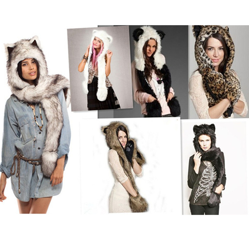 2016 wolf puppy hoods cute animal faux fur hat cap Cartoon Plush Hats With Scarf Paws
