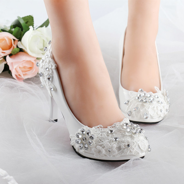 YEERFA Plus Size 34 40 Fashion Lace Wedding Shoes White For Women Handmade Bridal Shoe