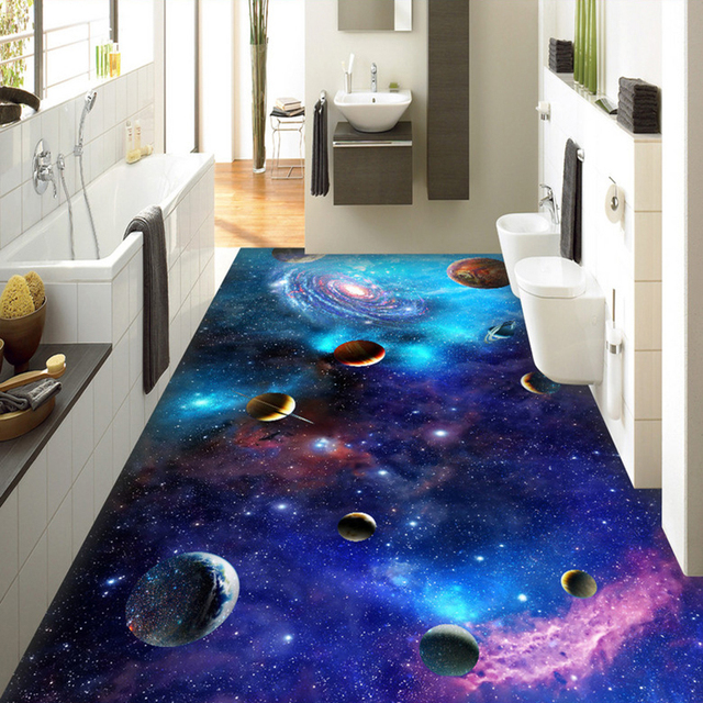 Custom 3d Self Adhesive Floor Wallpaper Cosmic Galaxy Starry Sky