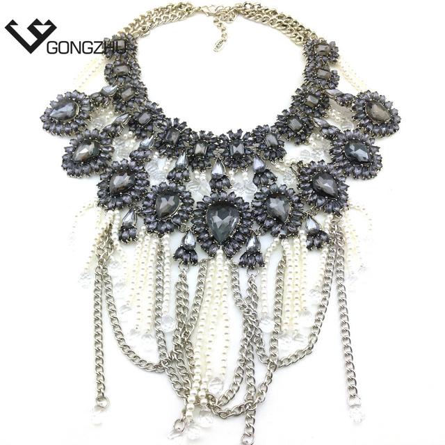 El envío gratuito! nuevas marcas de moda gris de cristal Collares y Colgantes declaración Collar de la joyería 2016 al por mayor para las mujeres