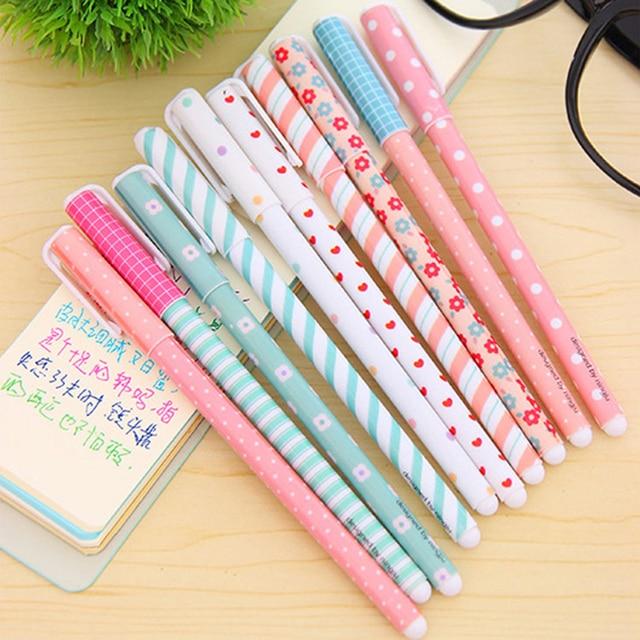 10 Unids/lote Color Gel Pluma Kawaii Papelería Flor Coreana Papelaria Canetas escolar Oficina Regalo Material Escolar