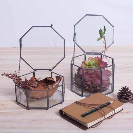 Восемь сторон металл, стекло окна цветочный горшок горшки металлические стеклянные горшки для рабочего украшения Геометрические вазы садово-паркового искусства декора