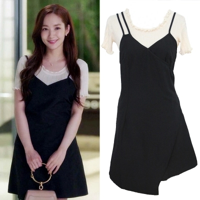 christmas 2pcs/set Black Dress + T shirt Whats Wrong With Secretary Kim Same Dress Pregnant Maternity woman TV Korean Drama