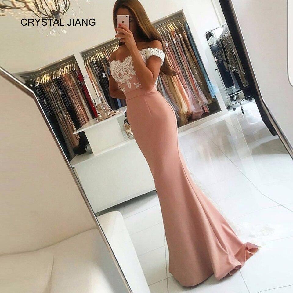 Cristal JIANG 2018 robes de bal hors de l'épaule vestido de festa longo dentelle Applique Spandex trompette robes de bal vestido longo