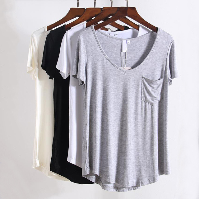 203e78a086 Drop shipping Match V Neck Short Sleeve T Shirts Summer New Arrivals S-2xl Plus  Size Bottoming Loose European Style Tops