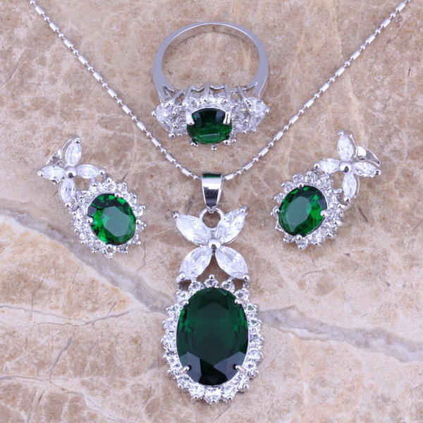 Lovely Green Cubic Zirconia White CZ Silver Jewelry Set Earrings Ring Ring Size 6/7/8/9/10/11/12 S0042