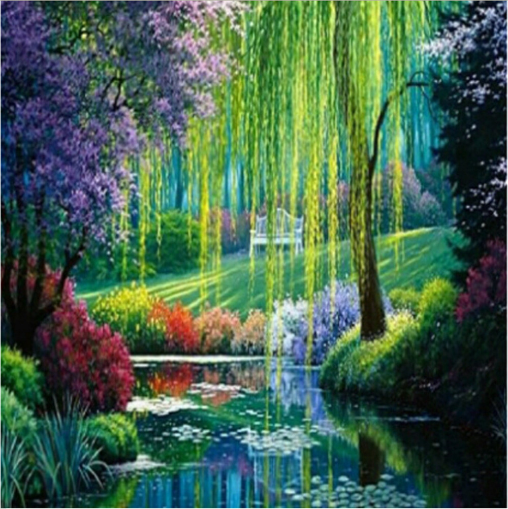 Picture diamond landscape trees Mosaic drawings Coloring by numbers ...